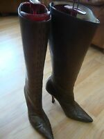 JIMMY CHOO LONDON BROWN LEATHER WOMEN BOOTS 37.5 EU OR 7 B OR M US MADE IN ITALY