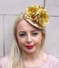 Gold Sequin Rose Flower Fascinator Pillbox Hat Races Wedding Hair Headpiece 3971