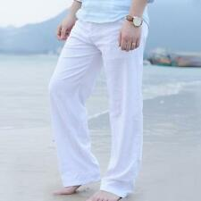Mens Linen Loose Pants Beach Drawstring Yoga Casual Long Slacks Trousers