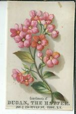 AI-080 NY, Troy, Dugan the Hatter Victorian Trade Card Pink Flowers