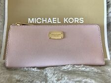 NWT MICHAEL KORS LEATHER JET SET TRAVEL THREE QUARTER ZIP WALLET IN BLOSSOM/GOLD