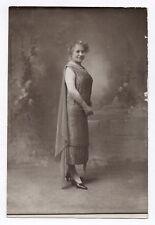 PHOTO ANCIENNE MODE FASHION Femme Studio Vers 1920 Portrait Robe longue cape