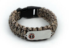 Paracord Medical ID Survival Bracelet with Raised emblem. Free medical Card!