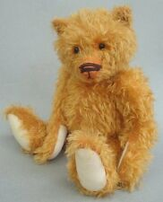 """Artist Teddy Bear Distressed Golden Mohair Plush 15"""" Boot Button Eyes Jointed"""