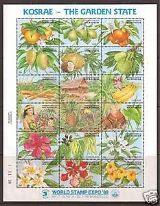 MICRONESIA # 103 MNH KOSRAE-THE GARDEN STATE, World Stamp Expo '89  Sheetlet