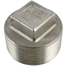 "1-1/2""Malleable Square Head Pipe Fitting Plug Threaded Male Stainless Steel 304"