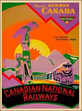 Canada via Jasper National Park Vintage Canadian Travel Advertisement Poster