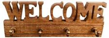 Home Welcome Sign Coat Jacket Hook Wall Mounted Brown Wood Clothing Rack