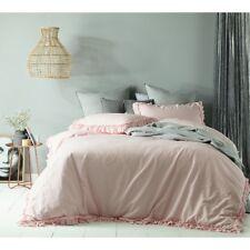Queen Bed Maison Linen Cotton Doona Quilt Cover Set Blush