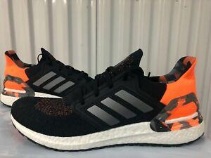 Adidas Ultraboost 20 Black Grey Orange Camo White 14 FV8322 Mens Running Shoes