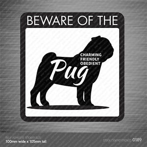 Beware Of The Dog Self Adhesive Vinyl Warning Sticker 100mm x 105mm - 21 Breeds