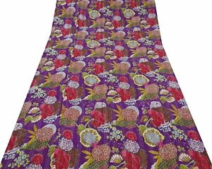 Indian Handmade Cotton Fruits Print Purple Kantha Quilt Coverlet 90x60 Inches