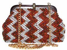 Zigzag Lucite Beaded Brown/White Purse Clutch Handbag