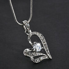 Women Heart Crystal Rhinestone Silver LONG Chain Pendant Necklace Jewelry