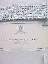 Simply Shabby Chic Linen Cotton Blend Blue Crochet Lace Sheet Set - Full