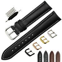 ZLIMSN Men's Genuine Leather Watch Strap Band Deployment Clasp 18 20 22 24 26 MM
