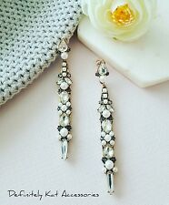 Vintage gold, white & gray crystal & pearl cocktail statement stud earrings