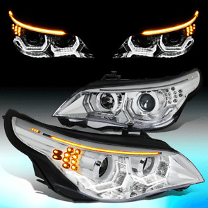 FOR 2004-2007 BMW E60 3D LED U-HALO+TURN SIGNAL HID PROJECTOR HEADLIGHT LAMPS