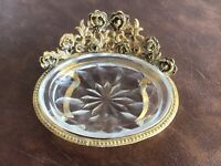 Ormolu Gold Footed Vanity Soap or Jewelry Dish w/ Removable Glass Dish