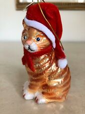 Kurt Adler Noble Gems American Short Hair Orange Tabby Cat Christmas Ornament