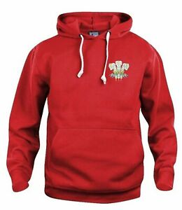 Wales 1970s Retro Rugby Hoodie Embroidered Crest S-XXXL Free UK Delivery