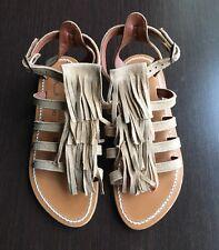 New unworn K JACQUES Fregate beige fringe greek leather sandals 35 UK 2