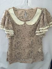 Ochirly Pale Pink/black Lace Print Flounce Sleeves Blouse Size Small S