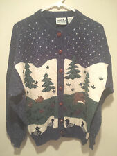 Vintage Ugly Christmas Sweater Tacky - Medium M Blue Northern Reflections!