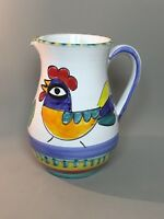 Vtg Pottery Pitcher Rooster Chicken Mid Century Modern - Unmarked