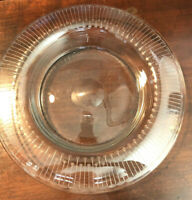 Vintage Glass Etched Shallow Bowl - Unusual