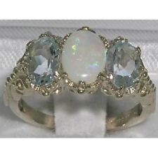 Victorian Design  English Sterling Silver Natural Large Opal & Aquamarine  Ring