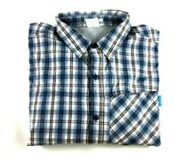 Columbia Insect Blocker Mens Blue Plaid Long Sleeve Button Front Shirt Size XL