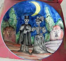 "Large Mexican Talavera Plate Day Of Dead Couple Wedding Hand Painted 14 1/2"" Dia"