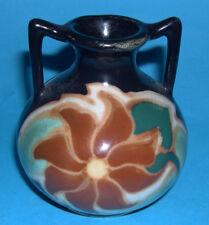 Art Pottery - Attractive Small Twin Handle Urn Vibrant Colour Design.(9cm tall).