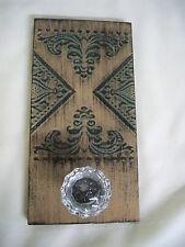 Coat / Hat Rack Glass Door Handle Metal Tin Covered Wall Plaque Brown w/ Green