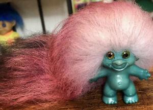 "Reg Des Dam UK Type 1960's/70's OOAK 3"" Green Troll Figure. Fur Hair. Glass Eyes"