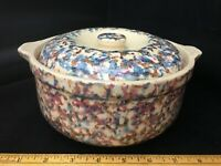 Vintage Red Wing Stoneware Bean Pot and Lid 1 Quart Blue Red Spongeware No Marks
