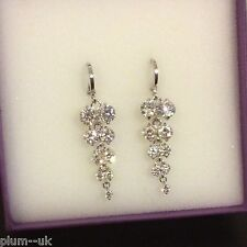 L05 Sim diamond chandelier earrings, silver (white gold filled) 47x13mm, BOXED