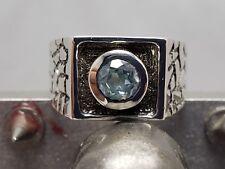 Sterling Silver 925 bezel aqua stone, baroque sides, Signet, new, size 9 1/2 #2