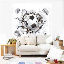 3D Football Soccer Wall Stickers Vinyl Art Mural Decals Kids Boys Playroom Decor