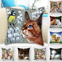18'' Cat Print Pillowcase Throw Pillow Cushion Cover Case Car Sofa Decor 34CA