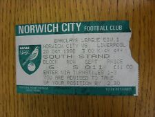 20/10/1990 Ticket: Norwich City v Liverpool [Football League Runners Up] (folded