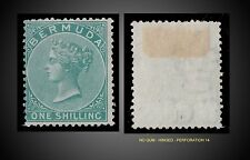 1865 BERMUDA 1 SHILLING GREEN PERF. 14  WMK CROWN AND CC MINT NO GUM SCT 6 SG 8