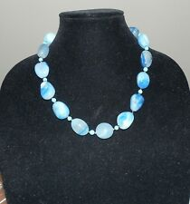 Big Chunky Blue Lace Agate Necklace Vintage Artisan Made Blue Gemsrone