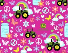 JOHN DEERE PINK FABRIC TRACTOR FARM FRESH GIRL SPRINGS CREATIVE COTTON  YARDAGE
