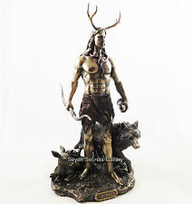 Herne Figure Pagan Altar Statue Lord of the Forest with Wolf & Deer Figurine NEW