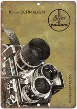 """Bolex 16mm Naillard Schmalfilm Film Camera 10"""" x 7"""" Retro Look Metal Sign"""