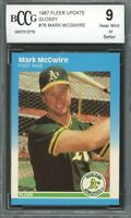 1987 Fleer Update Glossy #76 Mark McGwire Rookie Card BGS BCCG 9 Near Mint+