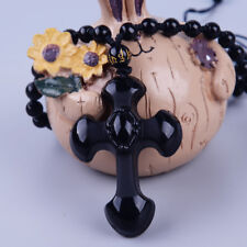 Fashion Black Natural Obsidian Carved Cross Lucky Pendants Beads Necklace Charm