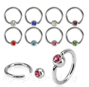 PAIR Surgical Steel CZ Captive Bead Ring Ear Cartilage Nose Ring 20G 18G 16G 14G